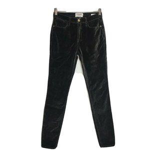 Frame Le High Skinny Gray Velvet Skinny Jeans 25